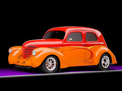 AUT 26 RK1301 01 © Kimball Stock 1937 Willys Sedan Hot Rod Orange And Red 3/4 Front View Studio