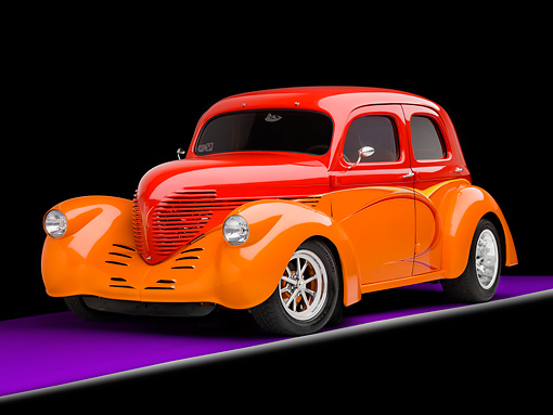 AUT 26 RK1302 01 © Kimball Stock 1937 Willys Sedan Hot Rod Orange And Red 3/4 Front View Studio