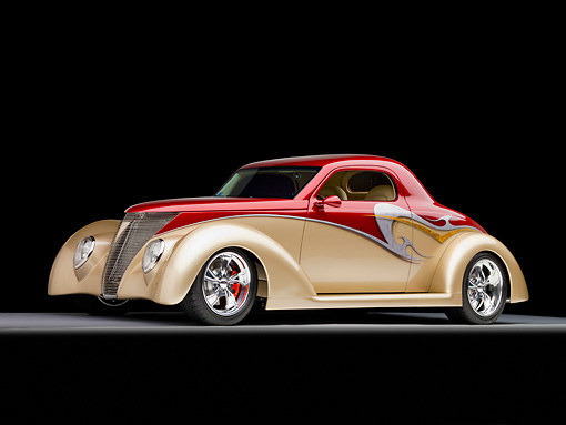 AUT 26 RK1313 01 © Kimball Stock 1937 Ford 3-Window Coupe Hot Rod Burgundy & Champagne 3/4 Front View Studio