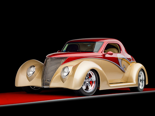 AUT 26 RK1315 01 © Kimball Stock 1937 Ford 3-Window Coupe Hot Rod Burgundy & Champagne 3/4 Front View Studio