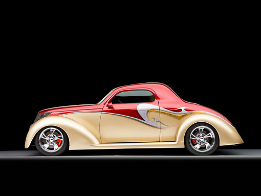 AUT 26 RK1316 01 © Kimball Stock 1937 Ford 3-Window Coupe Hot Rod Burgundy & Champagne Profile View Studio