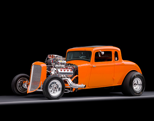 AUT 26 RK2687 01 © Kimball Stock 1934 Plymouth 5-Window Coupe Hot Rod Orange 3/4 Front View Studio