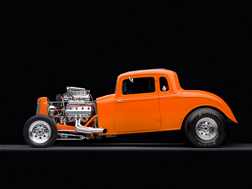 AUT 26 RK2690 01 © Kimball Stock 1934 Plymouth 5-Window Coupe Hot Rod Orange Profile View Studio