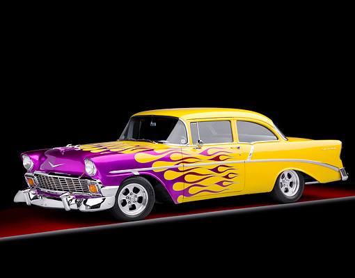 AUT 26 RK2695 01 © Kimball Stock 1956 Chevrolet 210 Post Hot Rod Yellow Purple Flames 3/4 Front View Studio