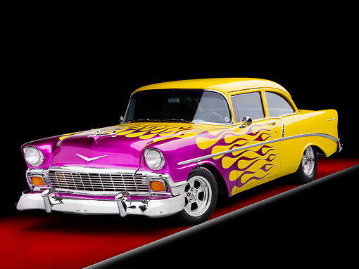 AUT 26 RK2696 01 © Kimball Stock 1956 Chevrolet 210 Post Hot Rod Yellow Purple Flames 3/4 Front View Studio