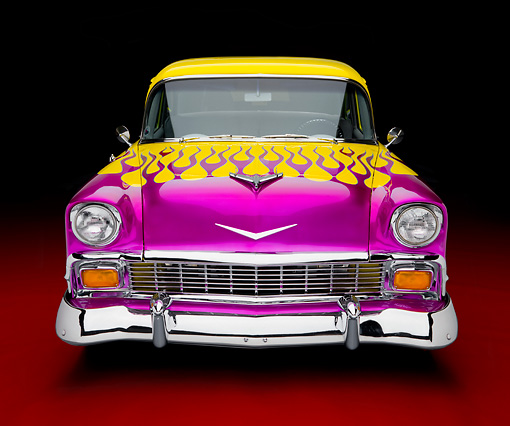 AUT 26 RK2697 01 © Kimball Stock 1956 Chevrolet 210 Post Hot Rod Yellow Purple Flames Front View Studio