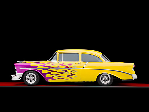 AUT 26 RK2698 01 © Kimball Stock 1956 Chevrolet 210 Post Hot Rod Yellow Purple Flames Profile View Studio
