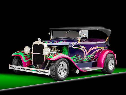 AUT 26 RK2700 01 © Kimball Stock 1931 Ford Model A Deluxe Phaeton Hot Rod Purple Green And Pink Flames 3/4 Front View Studio