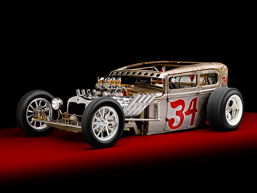 AUT 26 RK2705 01 © Kimball Stock 1930 Ford Model A Hot Rod Silver