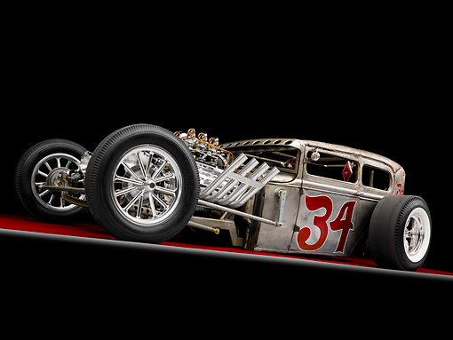 AUT 26 RK2707 01 © Kimball Stock 1930 Ford Model A Hot Rod Silver