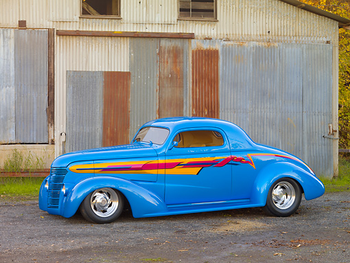 AUT 26 RK2730 01 © Kimball Stock 1938 Chevrolet Coupe Hot Rod Blue 3/4 Front View On Gravel