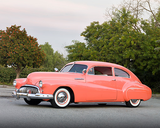 AUT 26 RK2744 01 © Kimball Stock 1948 Buick Super Hot Rod Salmon 3/4 Front View On Pavement By Trees