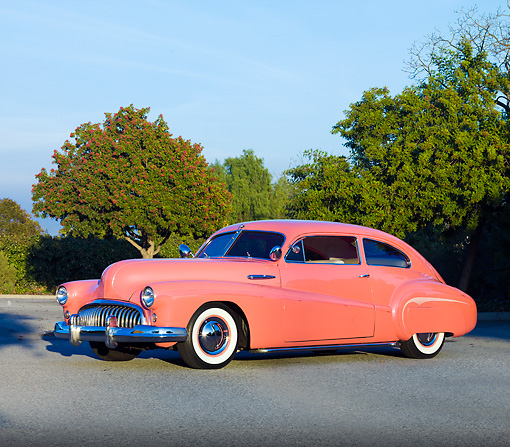 AUT 26 RK2745 01 © Kimball Stock 1948 Buick Super Hot Rod Salmon 3/4 Front View On Pavement By Trees