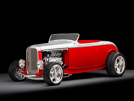 AUT 26 RK2747 01 © Kimball Stock 1932 Ford Highboy Roadster Hot Rod Silver And Red 3/4 Front View Studio