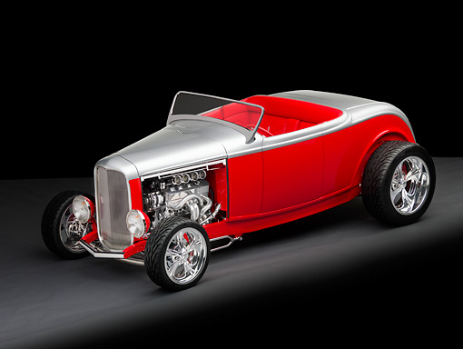 AUT 26 RK2748 01 © Kimball Stock 1932 Ford Highboy Roadster Hot Rod Silver And Red 3/4 Front View Studio