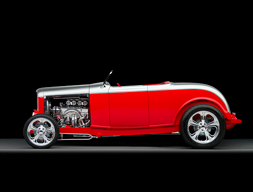 AUT 26 RK2750 01 © Kimball Stock 1932 Ford Highboy Roadster Hot Rod Silver And Red Profile View Studio