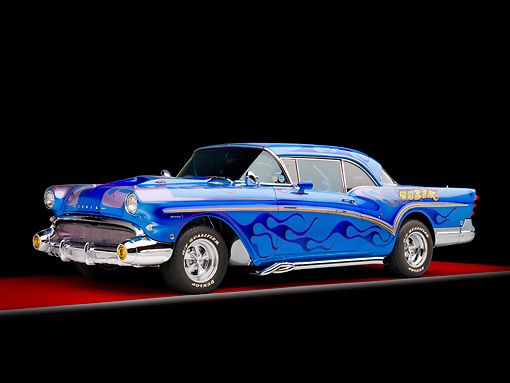 AUT 26 RK2752 01 © Kimball Stock 1957 Buick Special Hot Rod Blue With Flames 3/4 Front View Studio