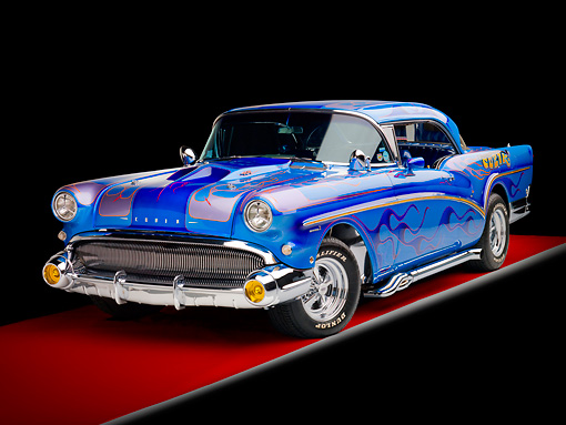 AUT 26 RK2753 01 © Kimball Stock 1957 Buick Special Hot Rod Blue With Flames 3/4 Front View Studio
