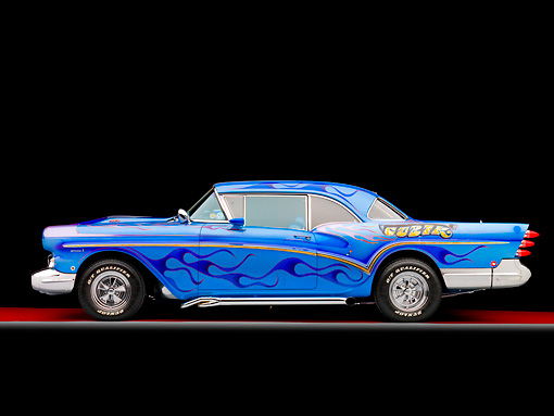 AUT 26 RK2755 01 © Kimball Stock 1957 Buick Special Hot Rod Blue With Flames Profile View Studio