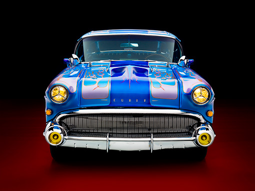 AUT 26 RK2756 01 © Kimball Stock 1957 Buick Special Hot Rod Blue With Flames Front View Studio