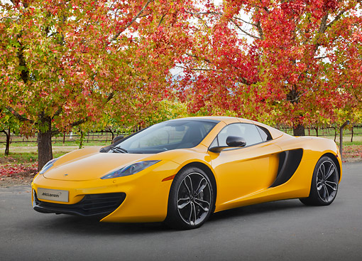 AUT 28 BK0001 01 © Kimball Stock 2013 McLaren 12C Spider Yellow 3/4 Front View On Pavement By Autumn Trees