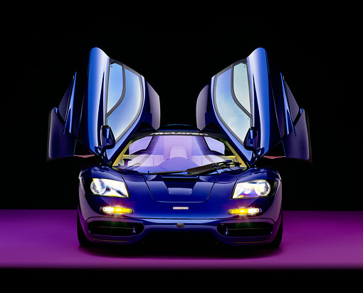 AUT 28 RK0099 07 © Kimball Stock 1993 McLaren F1 XP4 Blue Head On View Doors Open Studio