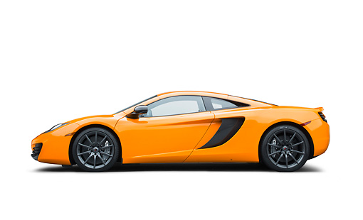 AUT 28 RK0181 01 © Kimball Stock 2012 McLaren MP4-12C Orange Profile View On White Seamless