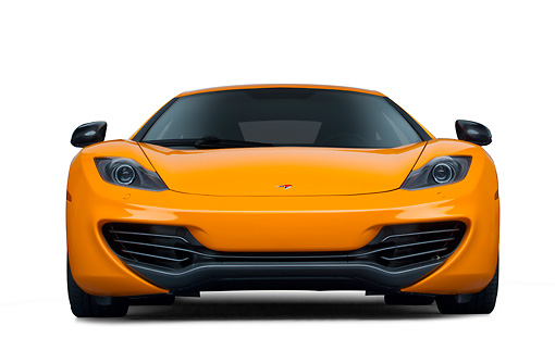 AUT 28 RK0182 01 © Kimball Stock 2012 McLaren MP4-12C Orange Front View On White Seamless