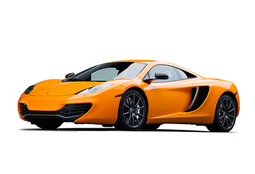 AUT 28 RK0184 01 © Kimball Stock 2012 McLaren MP4-12C Orange 3/4 Front View On White Seamless