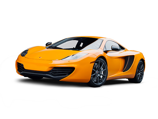 AUT 28 RK0185 01 © Kimball Stock 2012 McLaren MP4-12C Orange 3/4 Front View On White Seamless