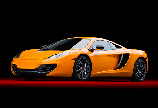 AUT 28 RK0186 01 © Kimball Stock 2012 McLaren MP4-12C Orange 3/4 Front View In Studio