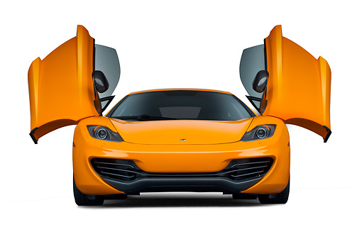 AUT 28 RK0188 01 © Kimball Stock 2012 McLaren MP4-12C Orange Front View With Doors Open On White Seamless