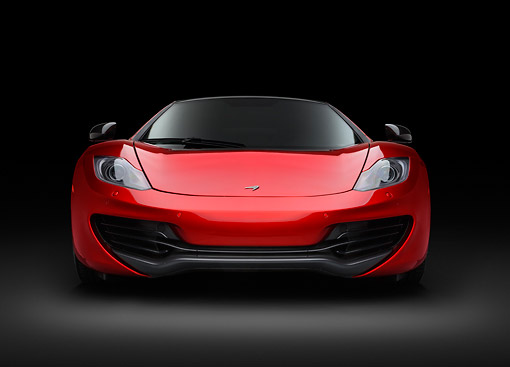 AUT 28 RK0196 01 © Kimball Stock 2013 McLaren MP4-12C Spider Red Front View In Studio