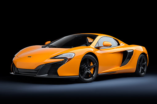 AUT 28 RK0208 01 © Kimball Stock 2015 McLaren 650S Orange 3/4 Front View In Studio