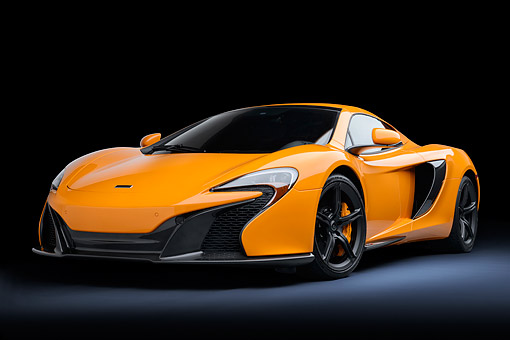 AUT 28 RK0209 01 © Kimball Stock 2015 McLaren 650S Orange 3/4 Front View In Studio