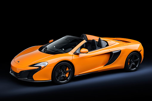 AUT 28 RK0211 01 © Kimball Stock 2015 McLaren 650S Orange 3/4 Front View In Studio