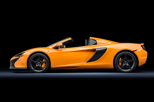 AUT 28 RK0212 01 © Kimball Stock 2015 McLaren 650S Orange Profile View In Studio
