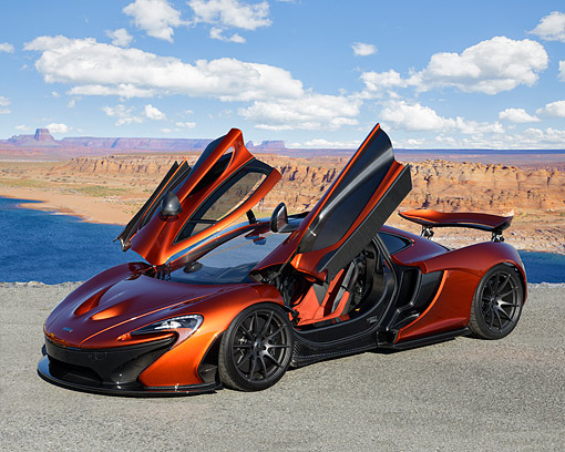 AUT 28 RK0214 01 © Kimball Stock 2015 McLaren P1 3/4 Front View Over Canyon River