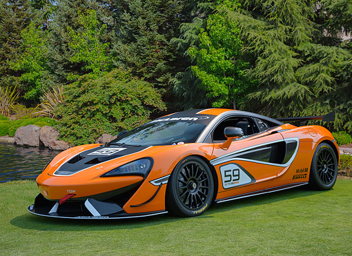 AUT 28 RK0220 01 © Kimball Stock 2017 McLaren 570S GT4 Race Car Orange 3/4 Front View On Grass By Lake And Trees
