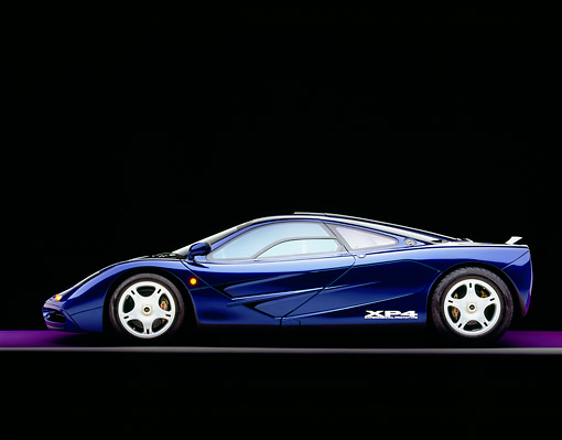 AUT 28 RK0092 06 © Kimball Stock 1993 McLaren F1 XP4 Blue Profile View Studio