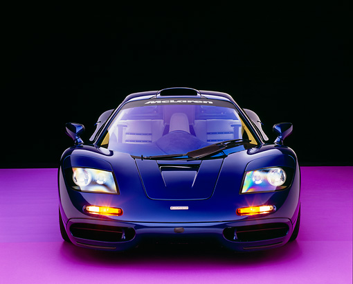AUT 28 RK0098 07 © Kimball Stock 1993 McLaren F1 XP4 Blue Head On View Studio