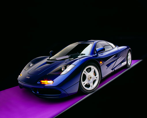 AUT 28 RK0100 04 © Kimball Stock 1993 McLaren F1 XP4 Blue Wide Angle 3/4 Front View Studio