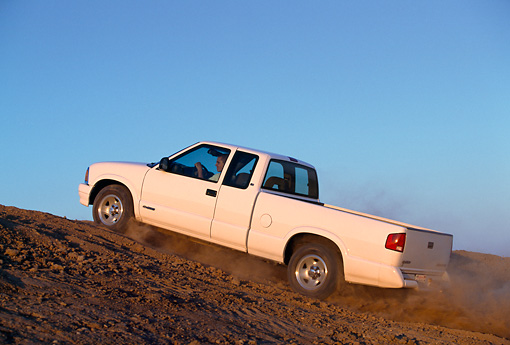 AUT 29 RK0011 15 © Kimball Stock 1997 Chevrolet S10 Pickup Truck White 3/4 Rear View On Dirt Hill