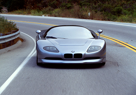 AUT 29 RK0143 01 © Kimball Stock BMW Ital Design Nazca Silver Head On In Motion On Road