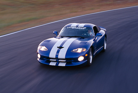AUT 29 RK0357 01 © Kimball Stock 1997 Dodge Viper GTS Blue And White 3/4 Front View On Race Track