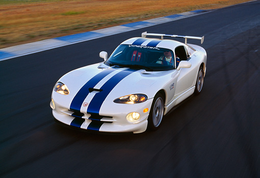 AUT 29 RK0365 11 © Kimball Stock 1997 Dodge Viper GTS R2 White Blue Stripes Overhead 3/4 Front View On Race Track In Motion