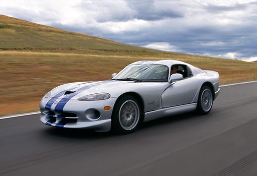 1999 Dodge Viper Gts Acr Silver Blue Stripes In Motion On Race Track