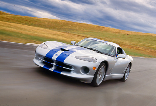 AUT 29 RK0369 28 © Kimball Stock 1999 Dodge Viper GTS ACR Silver Blue Stripes In Motion On Race Track