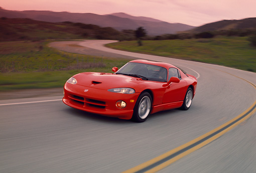 AUT 29 RK0533 57 © Kimball Stock 1997 Dodge Viper GTS Red Front 3/4 View On Road In Motion