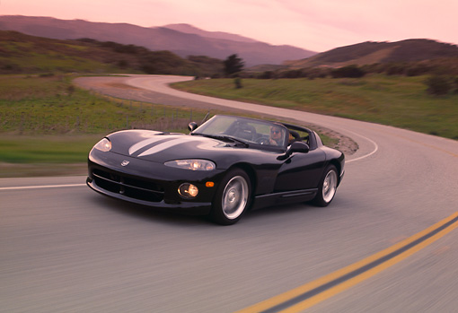 AUT 29 RK0539 02 © Kimball Stock 1996 Dodge Viper RT-10 Black 3/4 Front View On Road In Motion